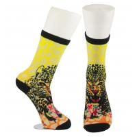 Yellow Anti Slip Custom Printed Socks , Eco - Friendly Soft Cute Printed Socks