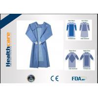 China Blue Fluid Resistant Disposable Surgical Gowns EO Sterilize Reforced Chemotherapy Gown on sale