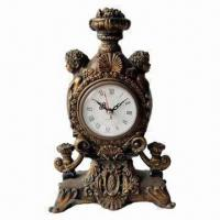 Best Antique Looking Polyresin Desk Clock with Plastic Dial and Battery Movement wholesale