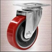 China 100mm Swivel Heavy-duty Caster with Cast Iron Core, PU Tread, and Plate Fitting on sale