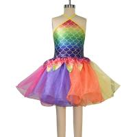 Best Rainbow Skirt Fish Dance Tutu Dress Wear Halter Triangle Top Back Crossing Straps wholesale