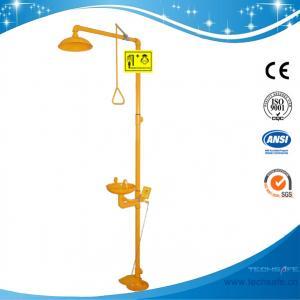 China SH712BF-epoxy powder coating Galvanization Iron Safety shower eyewash station Foot pedal Carbon Steel eyewash hands wash on sale
