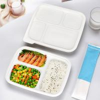 Best Three compartments starch warp up tray white color eco friendly fast food container with lid wholesale