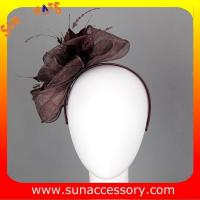 Best 0919 hot sale  fashion brown sinamay fascinators hats and caps with veil ,Fancy Sinamay fascinator  from Sun Accessory wholesale