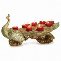 Best Peacock Candle Holder with 11 Red Glasses Cups in Gold Finish wholesale