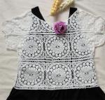 Best 2014 crochet lace blouse cotton lace tops sunflowers wholesale