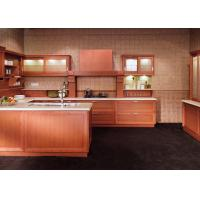 Best Classic Wooden Grain Pvc Classic Design Kitchen Cabinet With Visible Handle wholesale