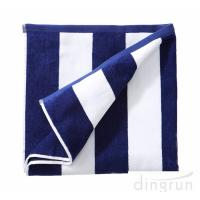 China 100% Cotton Plush Cabana Stripe Oversize Velour Beach Towel Bath Towel on sale
