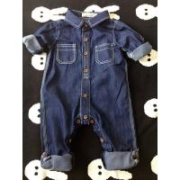 Spring / Autumn Acid Wash Kids Overall Jeans Buckle Design Wear Comfortable