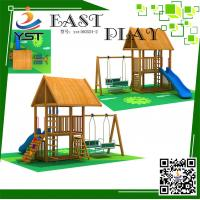 Best CE Certificated Wooden Playground Equipment , Wooden Swing And Slide Set wholesale