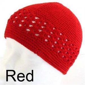 China Crochet KUFI Hat Red Beanie SKULL Cap on sale