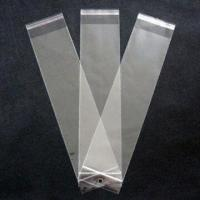 Buy cheap Clear BOPP bags with white header and self adhesive seal in size of 7x33.5cm from wholesalers