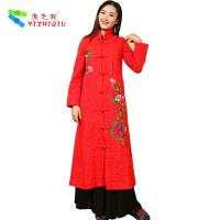 China Long Padded Women Embroidered Winter Coats Chinese Style With Single Breasted on sale