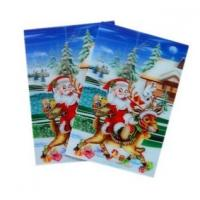 Best Merry Christmas plastic 3d lenticular lens printing sticker flip animation Wall Sticker wholesale