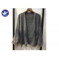 Best Lightweight Lady Pointell Bat Sleeves Cardigan / Womens Knit Sweater Gray Color wholesale