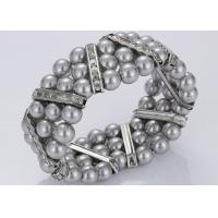 Best Three Strand Diamond and Grey Pearl Bracelet Costume Jewelry Wholesale wholesale