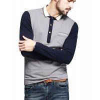 Best Color Block Ribbed Mens Polo T Shirts With Sleeves Placket Unfunctional Pocket wholesale