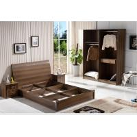 Best Cheap style rent Apartment home furniture melamine plate bed 1.2m- 1.5m-1.8 m light walnut color wholesale