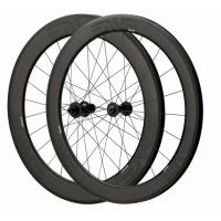 Cheap Depth 60mm Carbon Fiber Bike Wheels 23mm Width Clincher Tubular For Racing for sale