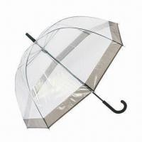 Best 58.5cm x 8k Manual Open Dome Shape Umbrella with Bordering PP Coating Handle Steel Frame/PP Top wholesale