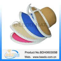 China Wholesale women summer beach sun straw cloche hats with lace bowknot on sale