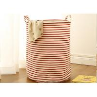 China Puting portable Laundry basket storage bag box bathroom hamper bin customized colors stripe Green blue Cotton Linen on sale