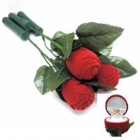 Best Ceremony Promotion Jewelry Velvet Box Red Rose Shaped With Fast Flashing LED Lights wholesale