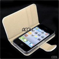 Best White Pattern with Card Leather Protective Pouch Case Cover for iPhone 4 wholesale