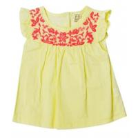 Best Girls Summer Infant Baby Clothes Solid Top With Ruffle Sleeve Yellow Color wholesale