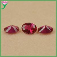 Buy cheap Wholesale high quality price carat red corundum oval diamond cut synthetic ruby from wholesalers