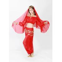 Best Authentic Chiffon belly dance practice costumes red , yellow color OEM design wholesale