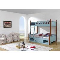 Best Sky blue painting bunk bed for children bedroom in solid wood frame and MDF plate with storage drawers in apartment furn wholesale