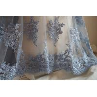Best Pale Blue Beaded Embroidered 3D Flower Lace Fabric By The Yard For Wedding Dress wholesale