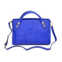 China Personalized Blue Womens Leather Briefcase Tote with Adjustable Top Handles on sale