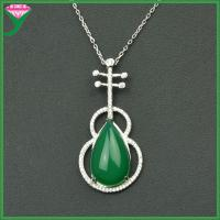 Best 925 sterling silver large single big natural green agate stone Necklace Pendants wholesale