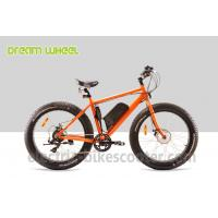 Best 48 Volt 4 Inch Electric Beach Bike Fat Tire Snow Bicycle Orange With Front Motor wholesale