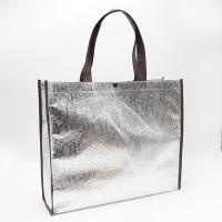 Cheap 100gsmSilver color black handle Aluminum film Non Woven Tote Shopping Bag with for sale