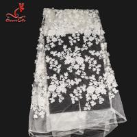 Best White 3d Embroidered Lace Fabric For Wedding Dress With Elastic Nylon Net wholesale