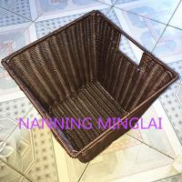 China Handweaved graceful square shape washable plastic rattan laundry basket for dirty clothes for Hotel on sale