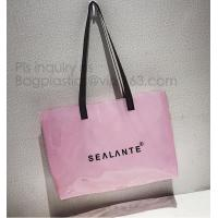 Semi-clear Tote Bags Stripe PVC Shoulder Bag with Pouch, PVC PU Trendy Handbag