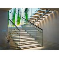 Best Modern stainless steel straight stair glass railing staircase for interior usage wholesale