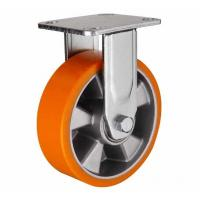 Best 8 inch Orange color Fixed aluminium core PU wheel for heavy duty caster wholesale