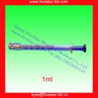 China Glass Syringe with luer lock tip (blue core )1ml on sale