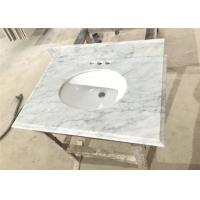China Big Vein White Carrera Marble Countertops Eased Edges With Double Sinks on sale
