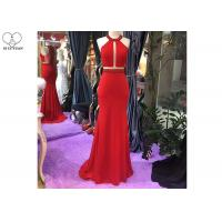 China Hanging Neck Red Mermaid Formal Dress Top Heavy Beading Open Back Stretch Fabric on sale