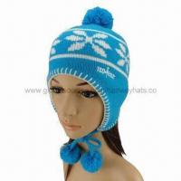 Best Pom Pom Hat Knitting Pattern with Three Pom-poms On the Top and Two Sides wholesale