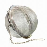 China Stainless steel mesh tea ball with chain, mesh infuser, strainer and filter, environment-friendly on sale