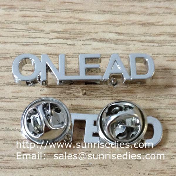 Metal hollow letters monogram lapel pins