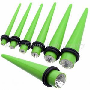 Best Light Green 10mm, 12mm Gem Ear Stretchers Tapers / Ear Taper Plugs With Swarovski Stone wholesale