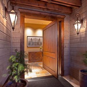 Best Veneered Walnut Solid Oak Internal Doors Slab Single Swing With V Grooves wholesale